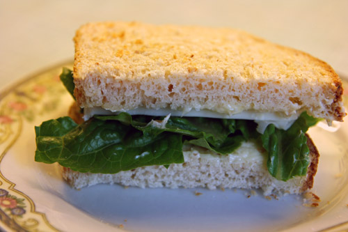Toastbrød med Romaine salat og fast gedeost