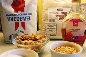 Ingredienser til Kastanjebrød med Nødder