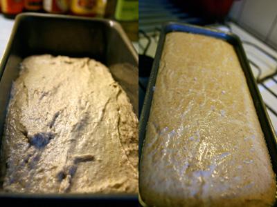 Dej til groft saltbrød. Før og efter hævning